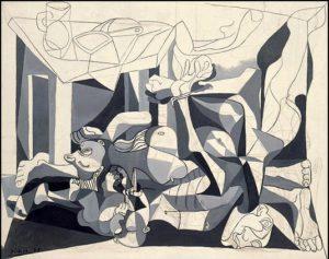 Picasso Le charnier. 1944-45. 199.8 x 250.1 cm. Oil & charco